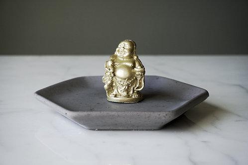 Charcoal Hexagon and Buddha Jewelry Dish