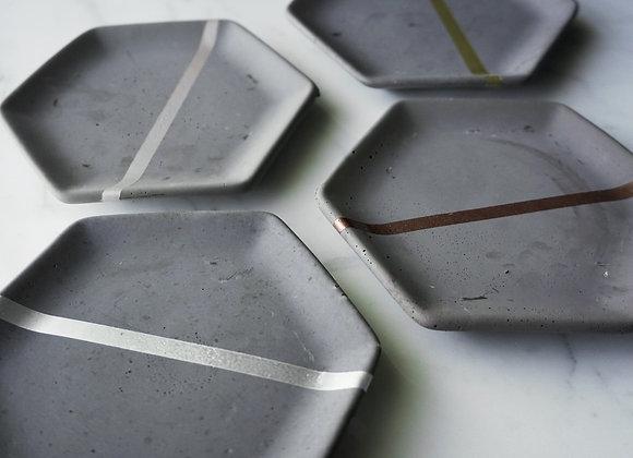 Charcoal and Metallic Stripe Hexagon Dish