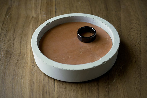 Small Round Concrete and Leather Tray