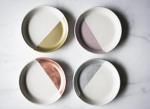 White and Metallic Round Dish