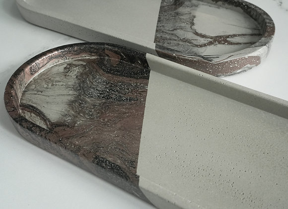 Marbled Concrete Medium Oval Tray