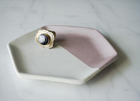 Natural Concrete and Metallic Hexagon Dish