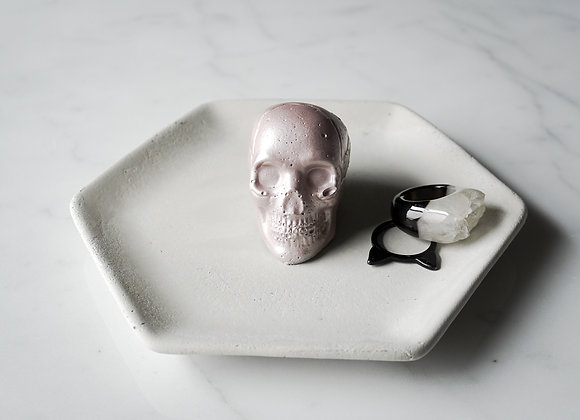 Natural Concrete Hexagon and Skull Jewelry Dish