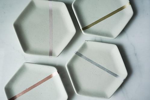 Natural Concrete and Metallic Stripe Hexagon Dish