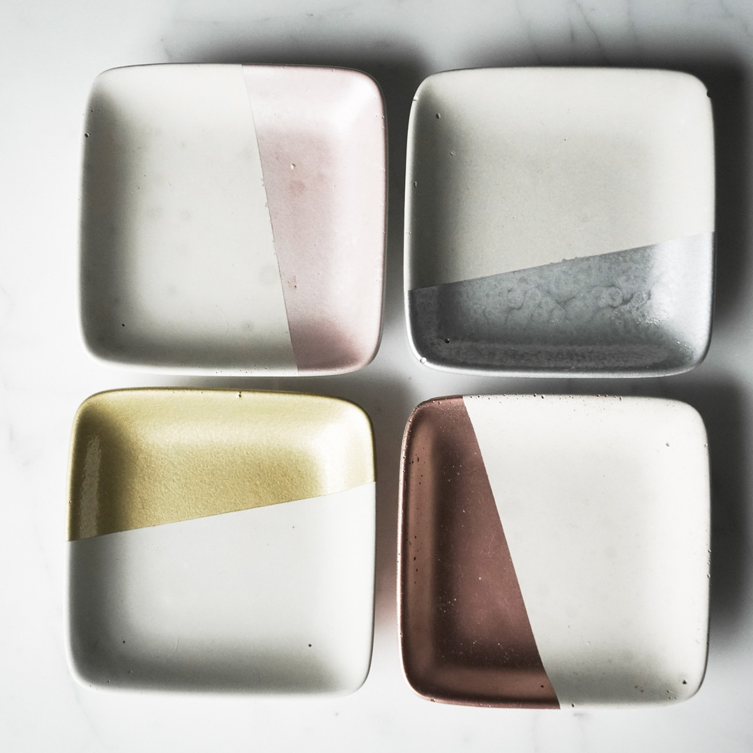 Square painted dishes