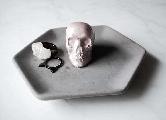 Charcoal Hexagon and Skull Jewelry Dish