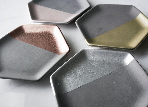 Charcoal and Metallic Hexagon Dish