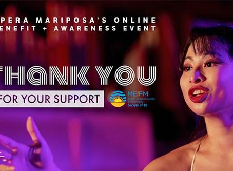 Opera Mariposa May Benefit + Awareness campaign raises $9,454!