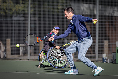 Lucy Shuker during a promotional event with Tim Henman