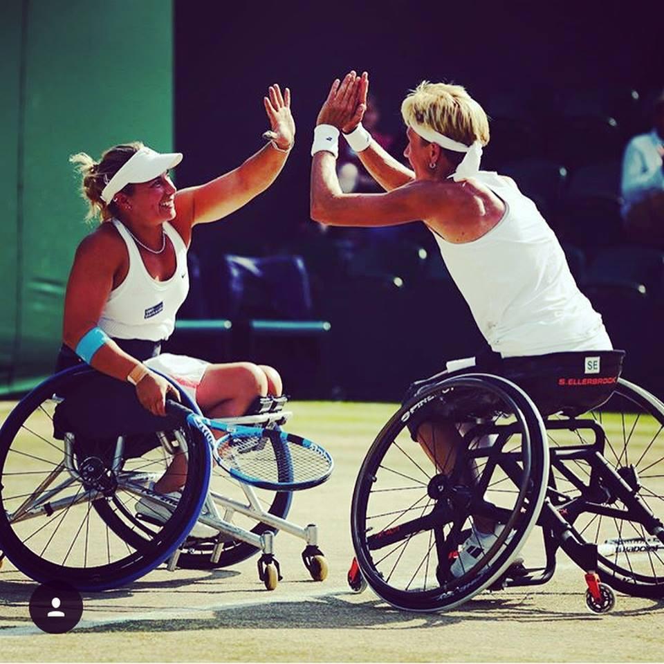 Lucy Shuker and doubles partner Sabine Ellerbrock
