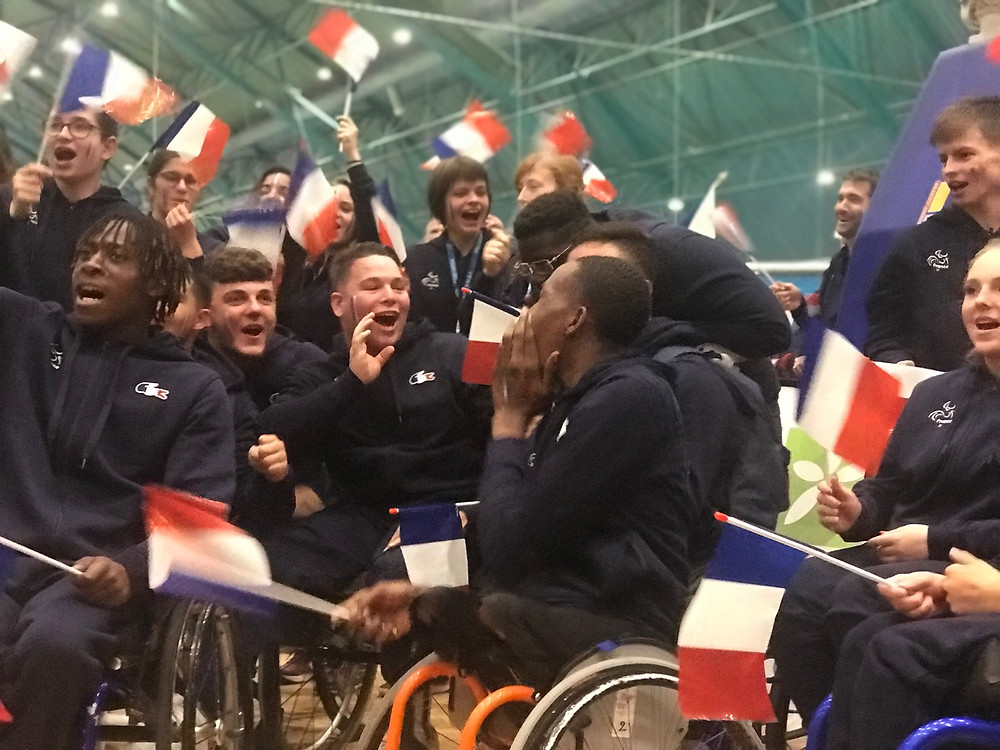 The young French team were vocal and visible during the opening ceremony of the European Para Youth Games in Pajulahti, Finland. Here they sing the national anthem and wave flags.