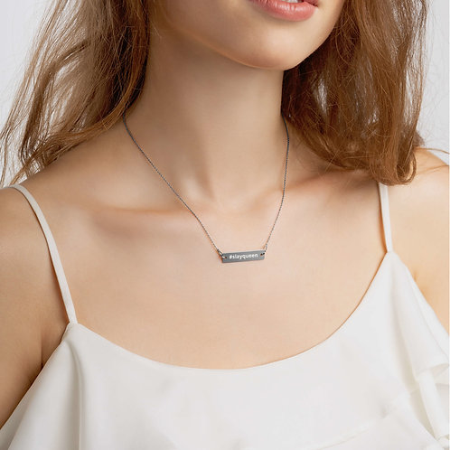 Engraved Silver Bar Chain Necklace- #slayqueen