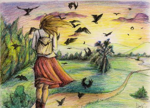 """Hike"" - Colored Pencil & Pen"