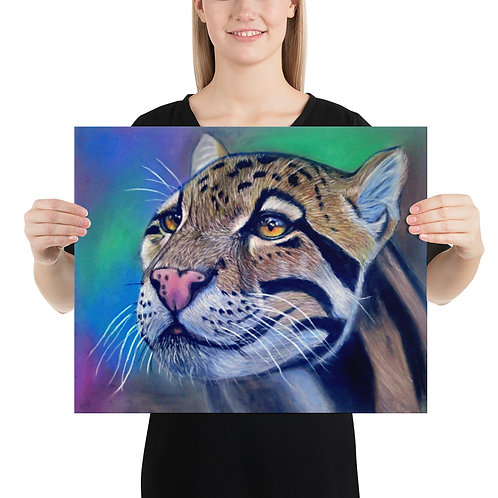 Clouded Leopard Realistic Pastel Drawing Photo Paper Poster