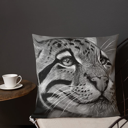 Clouded Leopard Pastel Drawing (Black and White) Premium Pillow