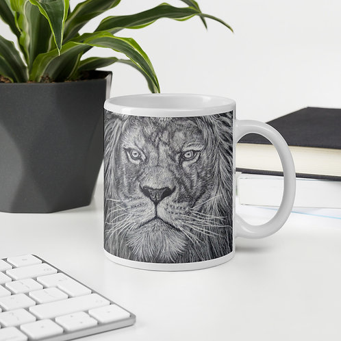 Lion White Coloring Pencil Drawing Mug