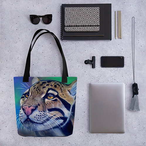 Clouded Leopard Realistic Pastel Drawing Tote bag