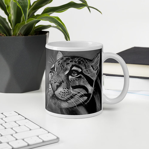 Clouded Leopard Pastel Drawing (Black and White) Mug
