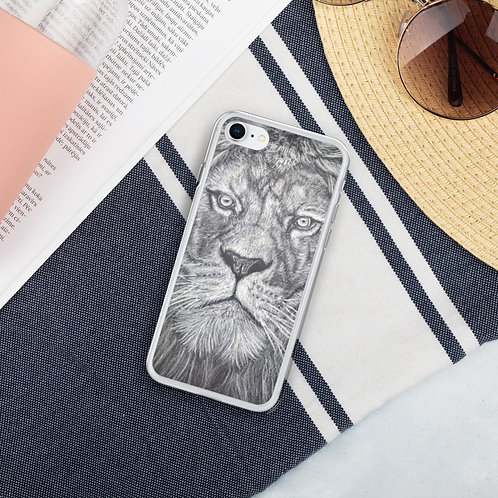 Lion White Colouring Pencil Art Liquid Glitter Phone Case