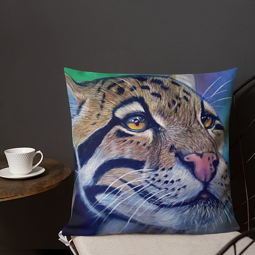 Clouded Leopard Realistic Pastel Drawing Premium Pillow
