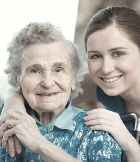 Young woman with grandmother