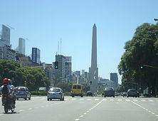 The widest avenue of the word , 9 of July Av. Obelisk Icon buenos Aires Argentina