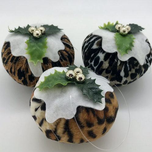 Set of 3 Leopard print Christmas pudding decorations
