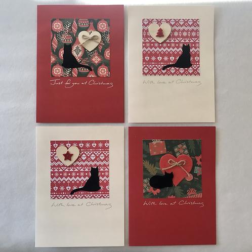 Handmade cards....Cats/hearts
