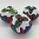 Thumbnail: 3 Rainbow tartan Christmas pudding decorations