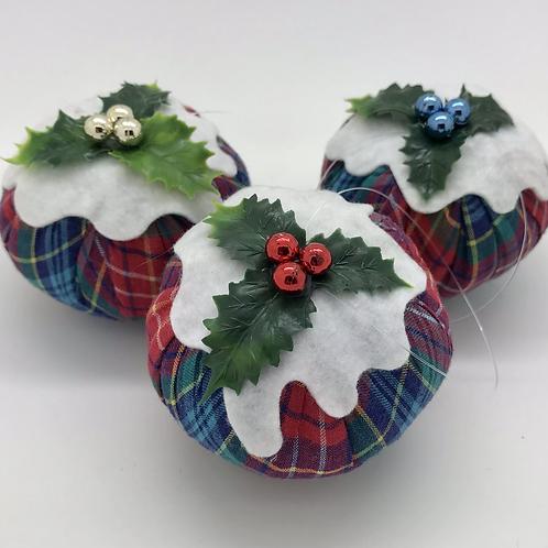 3 Rainbow tartan Christmas pudding decorations