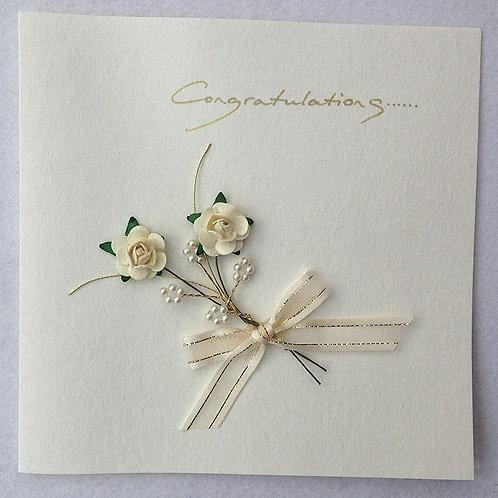 Wedding Card - Ivory/Gold Rose spray