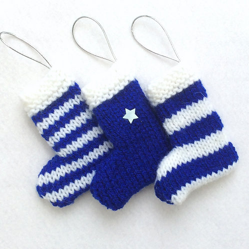 Hand-knitted Tree Stockings - Royal Blue & White