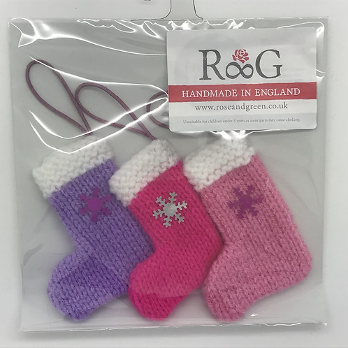 Hand-knitted Tree Stockings -Pinks/lilac