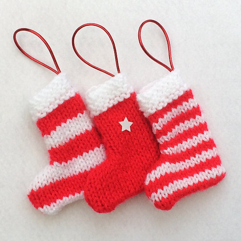 Hand-knitted Tree Stockings - Bright Red & White