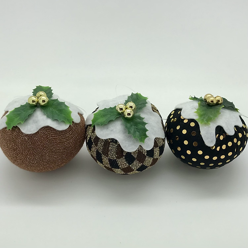 Set of 3 Brown/Gold Christmas pudding decorations