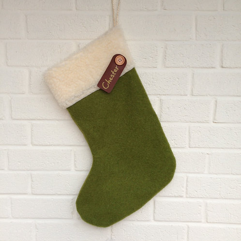 Personalised Stocking - Green wool