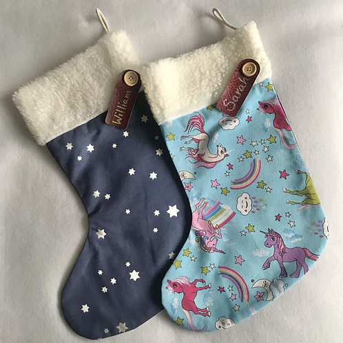 Unicorns & Stars Personalised stockings