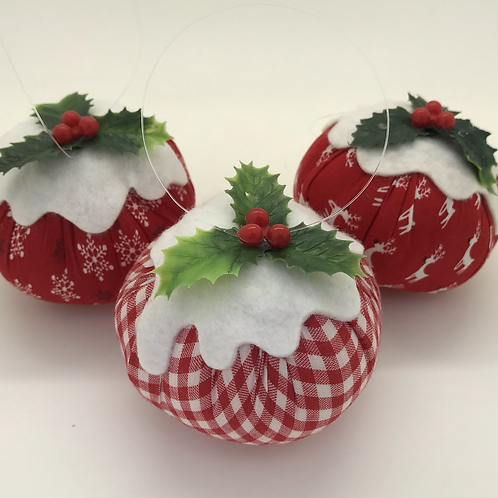 Set of 3 Red patterned Christmas pudding decorations