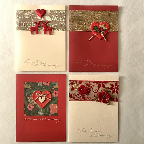 Handmade Christmas cards....Hearts/roses