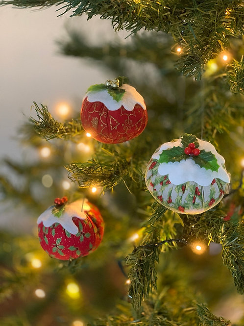 Set of 3 Holly and xmas fabric Christmas pudding decorations