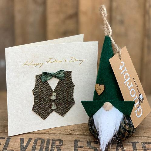 Tweed/tartan Gnorbit & Father's Day Card