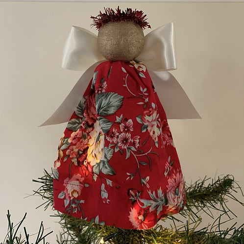 Tree-topper Angels - Red floral