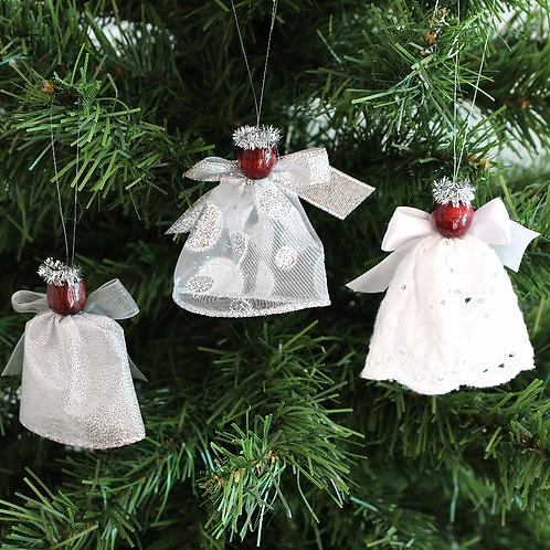 Small Tree Angels - Silver and White Lace