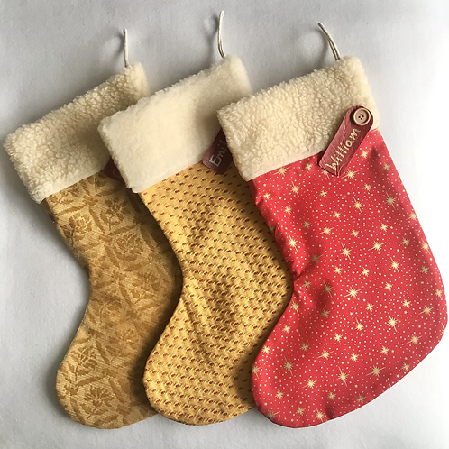Large Red/gold personalised stockings