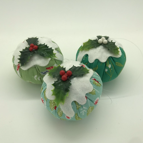 Set of 3 green floral Christmas pudding decorations