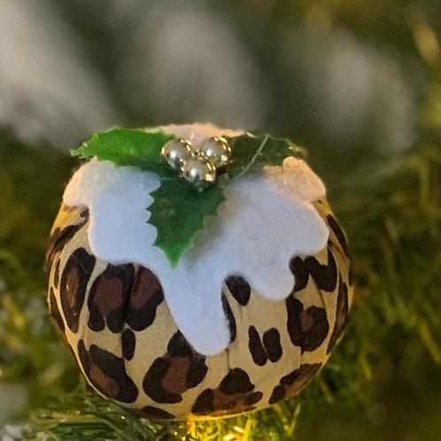 Leopard print Christmas pudding decorations