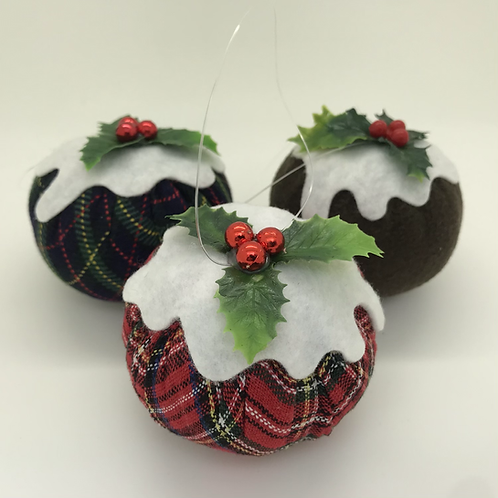 Set of 3 Tartan/natural Christmas pudding decorations