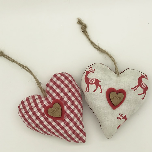 Red & White Reindeer Christmas hearts