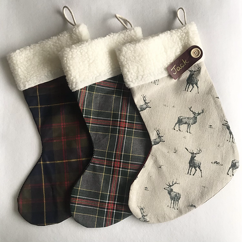 Grey Stag & Tartan personalised stockings