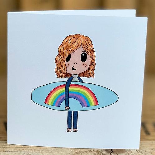 Rainbow Surfer Card